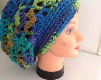 Hippie dead hat slouchy hat turquoise hat red hat crochet hat tie dye look