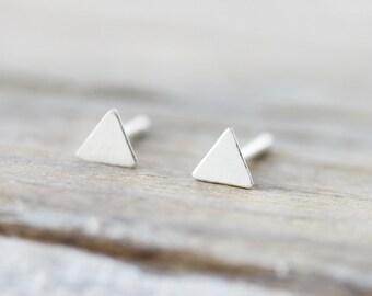 Mini triangle earrings - sterling silver earrings