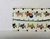 Mini Wallet - Gift Card Holder - Debit Credit Card Case -  Business Card Case  - Snap Closure - Terrier Dogs with Colorful Vests