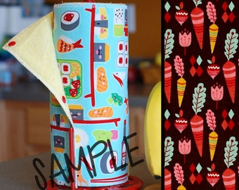 Unpaper Towel | Reusable Paper Towel - Root Veggies on Brown (0433970) Tree Saver Towel | Kitchen Towel | Snapping Cloth Paperless Towel
