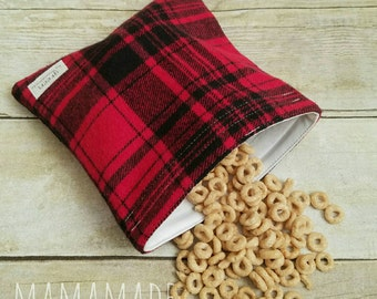 Red Flannel Plaid - Medium Reusable Sandwich Bag from green by mamamade