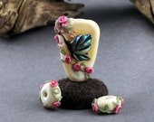 Lampwork Glass Butterfly focal Ivory Pink