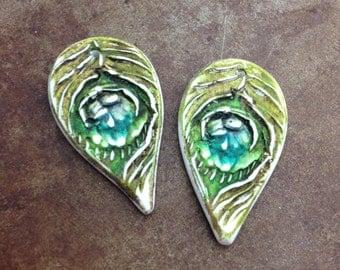 Peacock Feather Teardrop Earring Charms