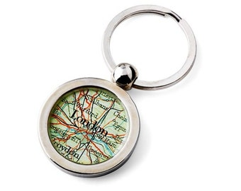 London Keychain Map Key Ring Fob Vintage United Kingdom Atlas for Dad your Groom or the Traveler