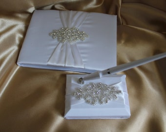 White/Ivory Guest Book and Pen Set-Rhinestone Beaded Applique