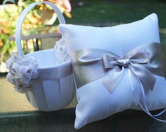 SALE-Ivory or White Flower Girl Basket and Pillow with Champagne/ Taupe Satin Ribbon and Flowers-Custom Ribbon Colors