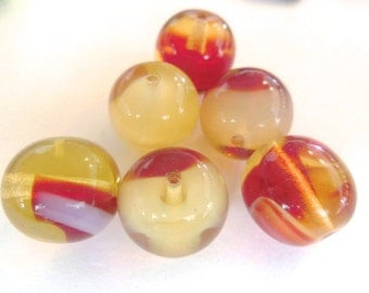 Czech marble beads (6) large cranberry ruby red clear white cream rounds beads 13mm 14mm (6)