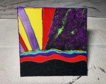 Taking Off Original Art Card Mixed Media Acrylics and Ink Glow in the Dark Hand Painted Intuitive Space Art 4.75 x 4.75