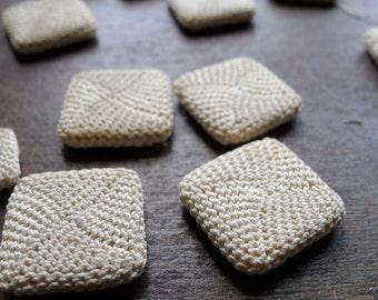 Antique Square Shape Crochet Buttons