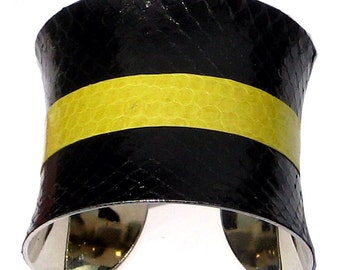 Black and Yellow Snakeskin Racing Stripe Cuff Bracelet