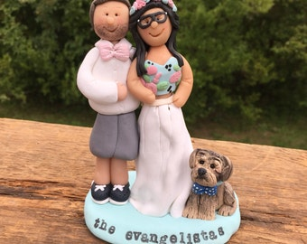 Custom Wedding cake topper with bride, groom and Dog