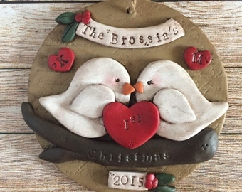 Custom love birds ornament.