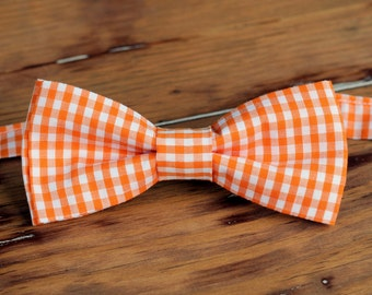 Boys Easter Gingham Bow Tie, Orange Green Purple Pink Bow Tie, bowtie for infant baby toddler child preteen boy, boys wedding bow tie, gift