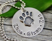 Mom Necklace For Pet Owner - Hand Stamped Jewelry - Pet Jewelry - Personalized Jewelry - Sterling Silver Necklace - Paw Print Charm