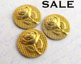 LOW Stock - Vintage Brass Rose Findings (72X) (V455) S A L E - 66% off