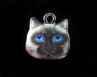Rhodium Plated Grumpy Cat Charms (2x) (K310-B)