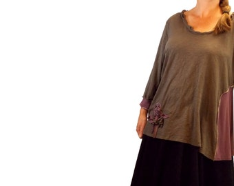 2X Floral Flare Top Eco Friendly Plus Recycled Fashion Flower Lagenlook XXL Mauve Sepia