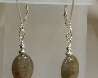 Genuine Labradorite Oval Drop Earrings on Silver Leverbacks