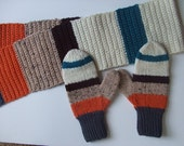 Hand Knit Mittens, Hand Crocheted Scarf  - Turquoise, Speckled Beige, Tangerine, Brown, Cream - for Ladies/Teens