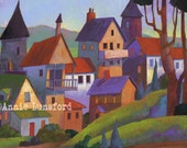 """Village Scene - Limited Edition Giclee Print 12"""" x 9"""" Fits in a 20"""" X 16"""" Mat From a Painting by Annie Lunsford The Village That Time Forgot"""