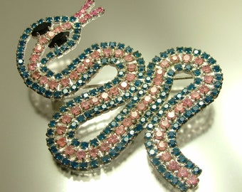 Vintage / estate 1980s silver tone, pink and blue diamante rhinestone paste, snake serpent costume brooch pin - jewelry / jewellery