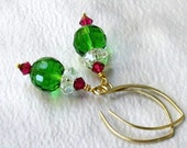 Christmas Green and Red Crystal Earrings, Handmade Gold Almond Earwires... Festive Holiday Jewelry Gift for Her