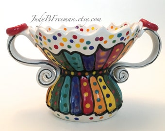 Rainbow Trinket Bowl Candy Dish Stoneware Loving Cup with Handles Striped and Dotted Tableware Made to Order BWL0013