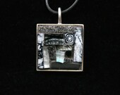 Film Noir Black and Silver Stippled Pendant