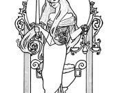 Downloadable coloring page Justice Tarot art nouveau
