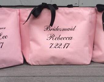 Monogrammed Tote Bag Personalized Embroidered Bride Bridesmaid Mother of the Bride