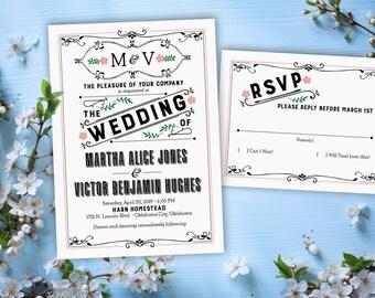 Vintage Style Wedding Invitation