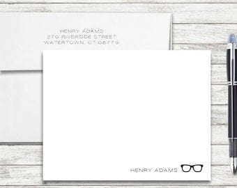 Bespectacled Designer Eyeglasses Personalized Flat Note Cards - Set of 25