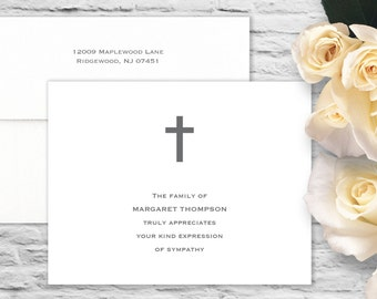 Simple Cross Sympathy Flat Card with Printed Envelope - White