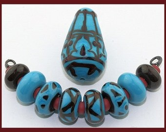 Constantinople...Set of 9 Handmade Lampwork Beads in Turquoise and Deep Brown, SRA