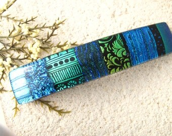 Large Dichroic Barrette, Blue Green Barrette, Hair Barrette, French Barrette, Fused Glass Barrette, Fused Glass Jewelry ,OOAK ,  050616ba103
