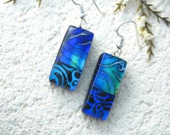 Purple  Blue Green Earrings, Glass Earrings, Dichroic Glass Earring, Sterling Earring, Fused Glass Jewelry, Dangle Drop Earrings  072316e100
