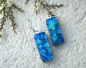 Deep Blue Earrings, Dangle Drop Earrings, Dichroic Earrings, Fused Glass Jewelry, Glass Earrings, Dichroic Jewelry, Sterling , 072316e102