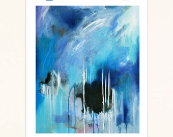 Abstract Art Print on Paper Featuring Blue, Black and White Design