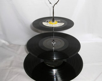 LP Record Album Cupcake Stand - 1980s - Night Ranger and Rick Springfield - 3 TIER