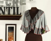 gray ruffled cropped shrug jacket with red trim - upcycled