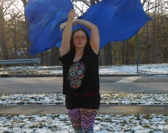 Blue Swing Flags - Poi Flags - Weighted Flags - Weighted Dancing Veils - Flow Fabric
