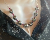 Tahitian Pearl Spike Necklace - Large Baroque Pearls - Black Saltwater Pearls - Sterling Silver with Garnets - 17.5""