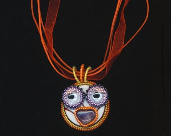 Beadwoven Beaded Chick with Character Pendant, Whimsical Chick, Movable eyes, Orange, Purple Amethyst, Easter Chick, Small Bird, Creature