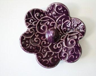 Jewelry Holder Ring Dish, Glazed in Deep Purple Plum, Beautiful raised texture imprint