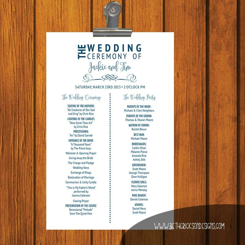 Order Of Wedding Ceremony: Traditional Wedding Program / Wedding Ceremony / Order Of