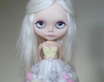 Pink Lemonade pom-pom dress for Blythe and Pullip
