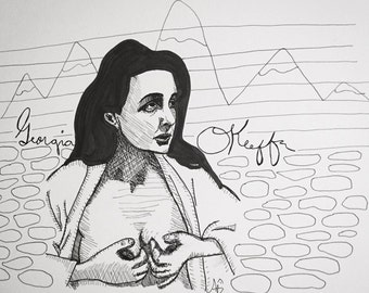 Georgia O'Keeffe 9x12 original ink line drawing