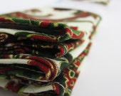Set of 6 napkins / handkerchiefs .. holiday paisley