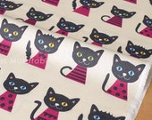Japanese Fabric - Putidepome - cats - pink - 50cm