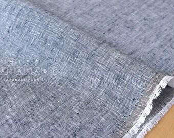 Japanese Fabric 100% linen - chambray navy -  50cm